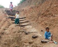 地方孩子在钦邦,缅甸 免版税图库摄影