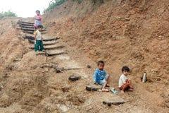 地方孩子在钦邦,缅甸 库存照片