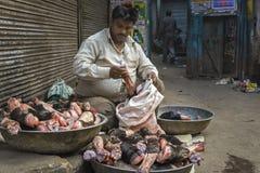 地方屠户在德里,印度 库存图片