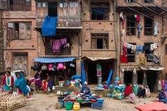 地方市场在尼泊尔 免版税库存照片