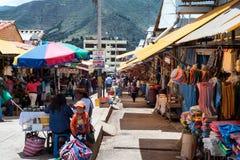 地方市场在库斯科,秘鲁 免版税库存图片