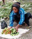 地方市场在瓦梅纳,在新几内亚海岛上 库存照片