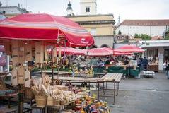 地方市场在萨格勒布,克罗地亚 免版税图库摄影