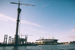 地方橄榄球队Zenit大厦体育场当前称Zenith Arena,建设中的体育场 图库摄影