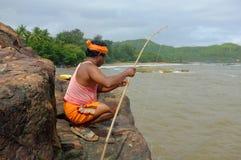 地方渔夫人在Gokarna,卡纳塔克邦,印度 库存图片