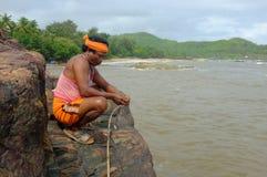 地方渔夫人在Gokarna,卡纳塔克邦,印度 图库摄影