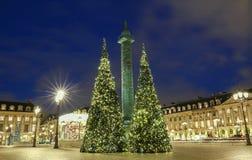 地方Vendome在晚上,巴黎,法国 图库摄影