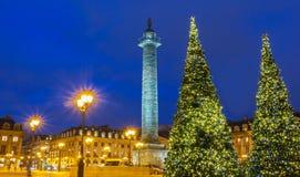地方Vendome在晚上,巴黎,法国 库存图片