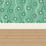 地板和墙壁背景绿色花贴墙纸 库存例证