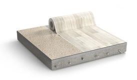 地板层数 亚麻油地毡地板片断  库存例证