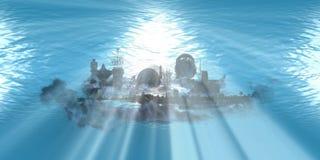 地标下海洋光芒 图库摄影