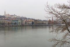 地标布达佩斯和多瑙河在与光秃的树前景的多云天 城市欧洲老 布达佩斯匈牙利全景 图库摄影