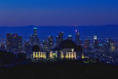 地标格里菲斯观测所在洛杉矶,加利福尼亚 库存图片