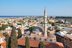 地标清真寺suleiman的罗得斯 库存照片