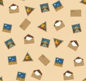 地标邮政无缝的印花税纹理 库存例证