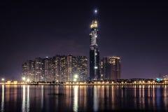 地标81当前是一个超高摩天大楼建设中在胡志明市,越南,是由英国设计的 免版税库存图片