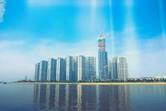 地标81当前是一个超高摩天大楼建设中在胡志明市,越南,是由英国设计的 免版税库存照片