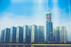 地标81当前是一个超高摩天大楼建设中在胡志明市,越南,是由英国设计的 库存图片
