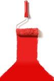 地毯油漆红色路辗 免版税库存照片
