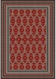 地毯的杂色的种族样式在伯根地和米黄树荫 免版税库存照片