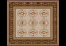 地毯的精美样式在米黄和棕色树荫下 库存图片