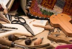 地毯编织的工具 库存图片