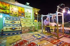 地毯车间在Sharm El谢赫,埃及老义卖市场  图库摄影