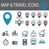 地点和目的地图标 免版税库存图片