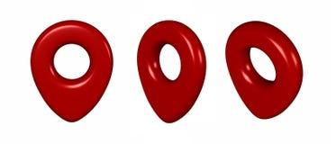 地点象3d回报例证 在白色背景隔绝的Pin标志 航海地图, GPS,方向,地方,指南针,骗局 免版税库存照片
