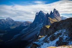 地点, Seceda -意大利-白云岩 免版税库存图片