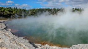 地热湖在Kuirau公园在罗托路亚,新西兰 免版税库存图片