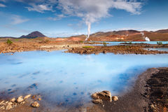 地热生产的驻地在Bjarnarflag,冰岛的 免版税库存图片