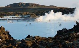 地热浴在冰岛 免版税库存照片