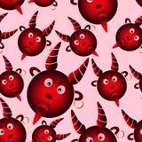 从地狱无缝的样式的红色邪恶的动画片恶魔 免版税库存照片