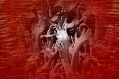 从地狱,万圣夜概念的邪恶的手 库存图片