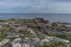 地狱, cascais葡萄牙嘴的多岩石的海滩  免版税库存照片