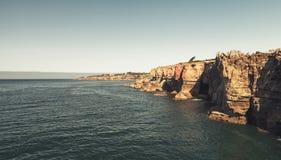 地狱` s位于卡斯卡伊斯峭壁的嘴峡谷  免版税库存图片
