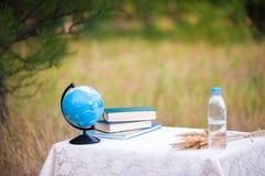地球、书和一个瓶水在一张桌上在自然背景中  教育在为时或首次电话的书桌 库存照片