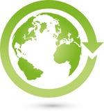 地球、地球、世界地球和箭头,地球商标 库存图片