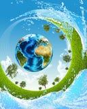 地球、绿草和水 库存图片