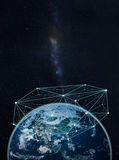 地球上的全球网络--美国航空航天局装备的这个图象的元素 库存图片