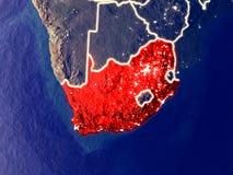 地球上的南非在晚上 免版税库存照片
