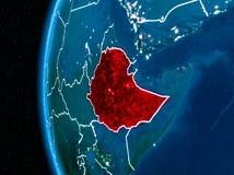 地球上的埃塞俄比亚在晚上 皇族释放例证