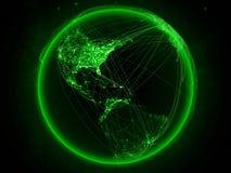地球上的多米尼加共和国与网络 库存例证