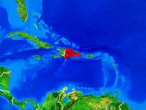 地球上的多米尼加共和国与边界 免版税库存照片