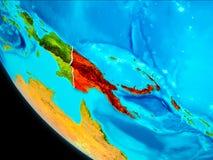 地球上的巴布亚新几内亚从空间 免版税库存照片