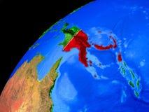 地球上的巴布亚新几内亚从空间 图库摄影
