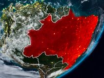 地球上的巴西在晚上 免版税库存照片