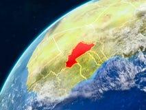 地球上的布基纳法索与边界 免版税图库摄影