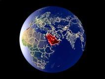 地球上的沙特阿拉伯从空间 皇族释放例证